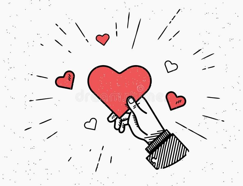 Illustration de vecteur de Saint Valentin de saint dans le rétro style avec des coeurs de rayon de soleil et de rouge illustration libre de droits