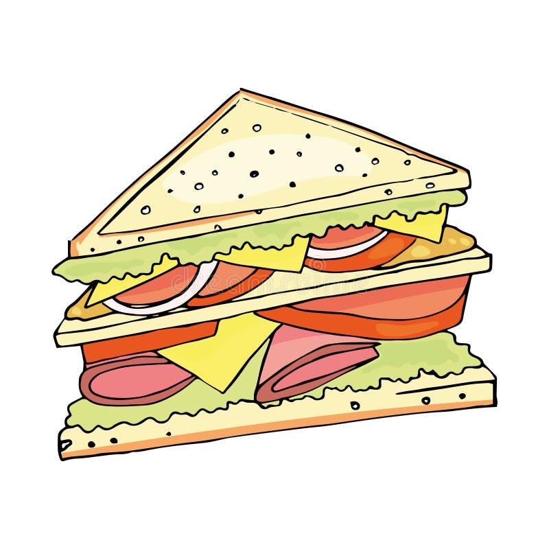 Illustration de vecteur de sandwich d'isolement sur le fond blanc, fabriqué à la main illustration de vecteur