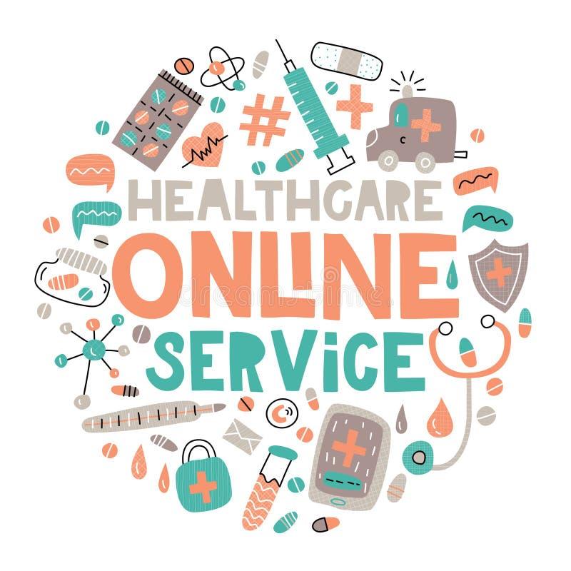 Illustration de vecteur de service en ligne de soins de santé photographie stock