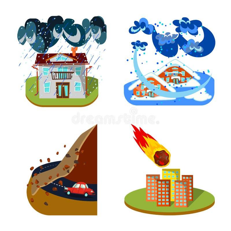 Illustration de vecteur de signe de cataclysme et de catastrophe Placez du symbole boursier de cataclysme et d'apocalypse pour le illustration de vecteur