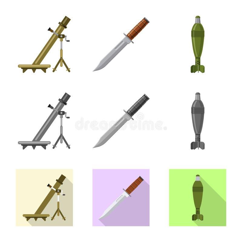 Illustration de vecteur de signe d'arme et d'arme à feu Ensemble d'illustration courante de vecteur d'arme et d'armée illustration libre de droits