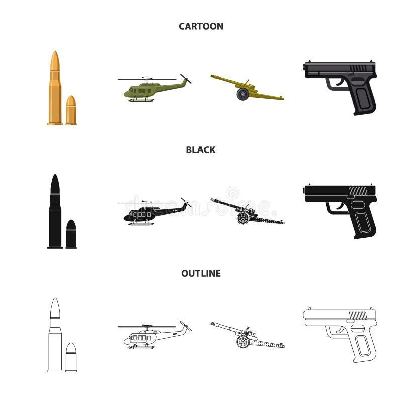 Illustration de vecteur de signe d'arme et d'arme à feu Ensemble d'icône de vecteur d'arme et d'armée pour des actions illustration stock