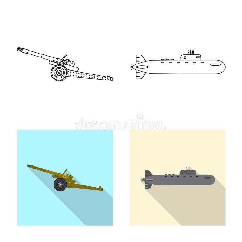 Illustration de vecteur de signe d'arme et d'arme à feu Ensemble d'icône de vecteur d'arme et d'armée pour des actions illustration libre de droits