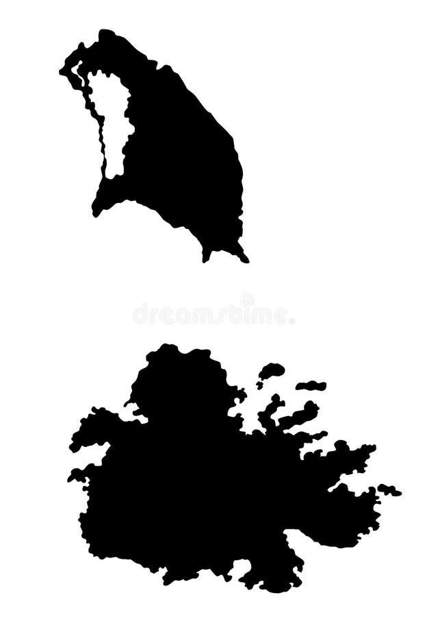 Illustration de vecteur de silhouette de carte de l'Antigua et du Barbuda illustration de vecteur