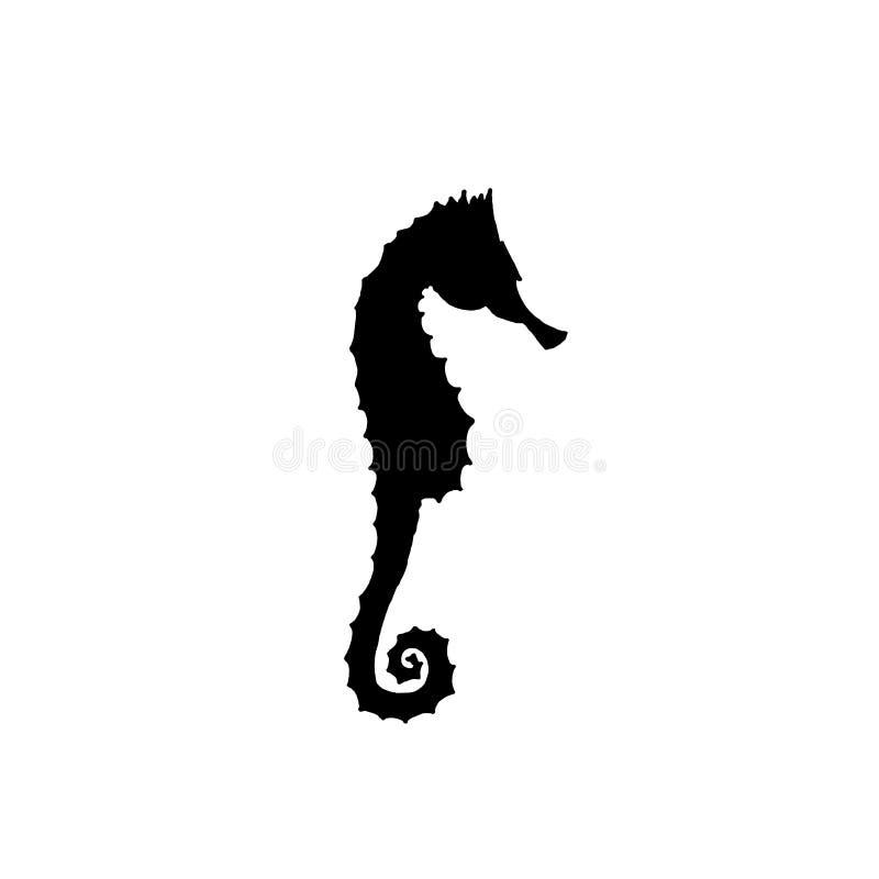 Illustration de vecteur de silhouette noire d'hippocampe Retrait de main illustration libre de droits