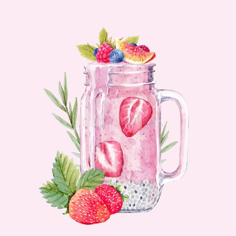 Illustration de vecteur de smoothie d'aquarelle illustration libre de droits