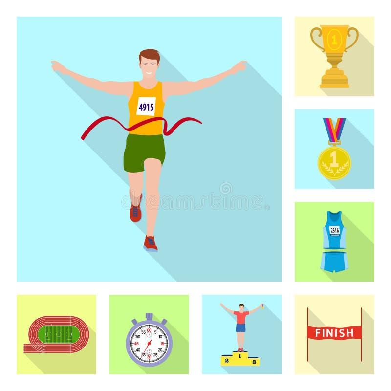Illustration de vecteur de sport et d'ic?ne de gagnant Collection de symbole boursier de sport et de forme physique pour le Web illustration stock