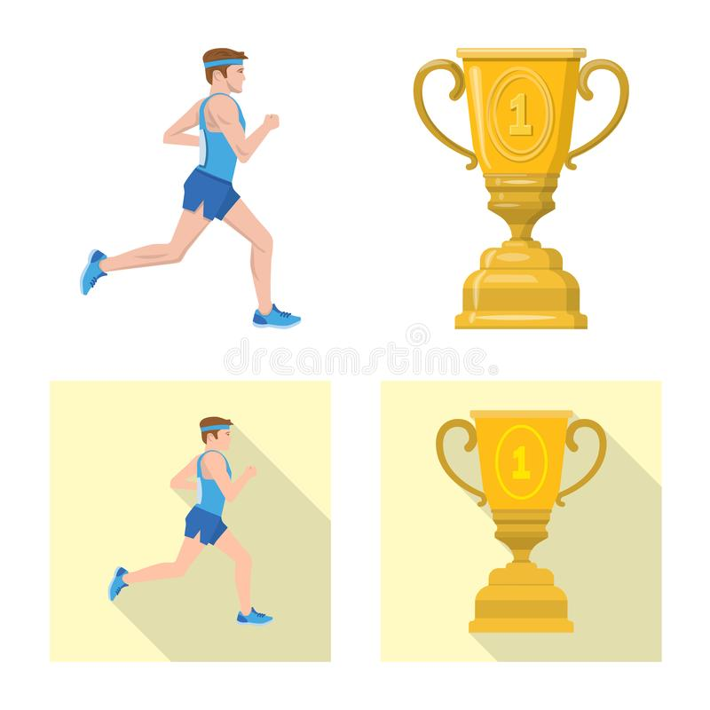 Illustration de vecteur de sport et de logo de gagnant Placez du symbole boursier de sport et de forme physique pour le Web illustration stock