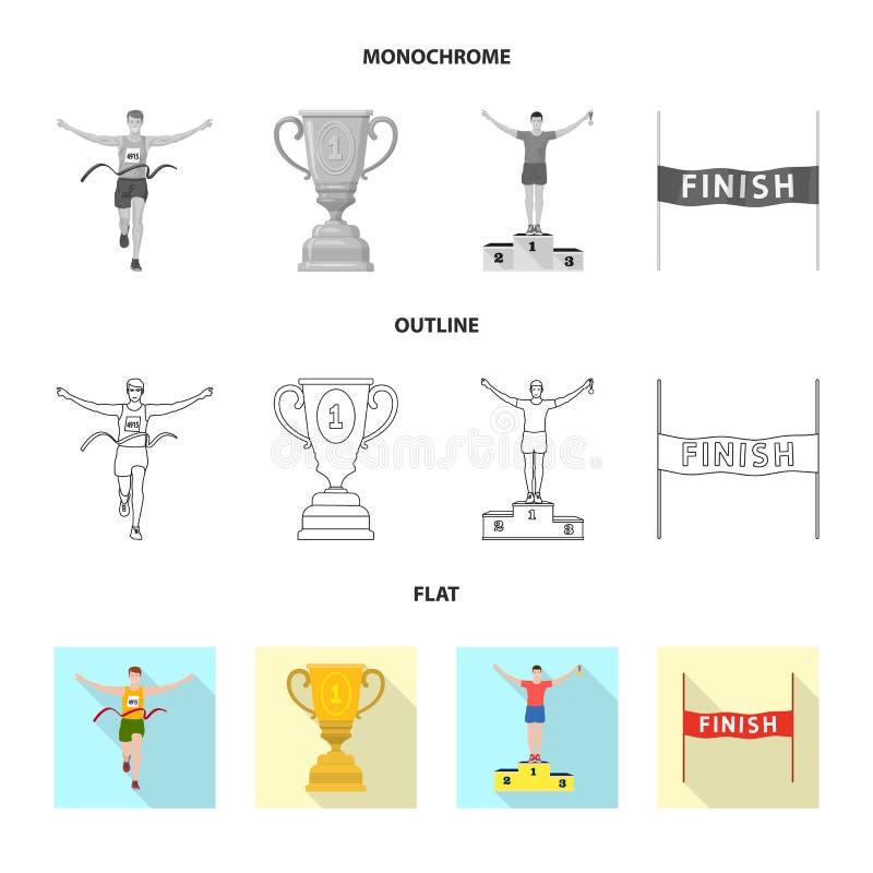 Illustration de vecteur de sport et de logo de gagnant Placez de l'illustration courante de vecteur de sport et de forme physique illustration stock