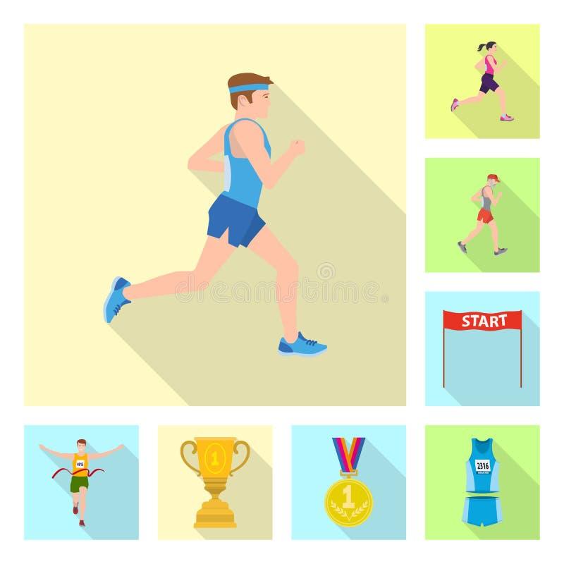 Illustration de vecteur de sport et de signe de gagnant Placez du symbole boursier de sport et de forme physique pour le Web illustration stock