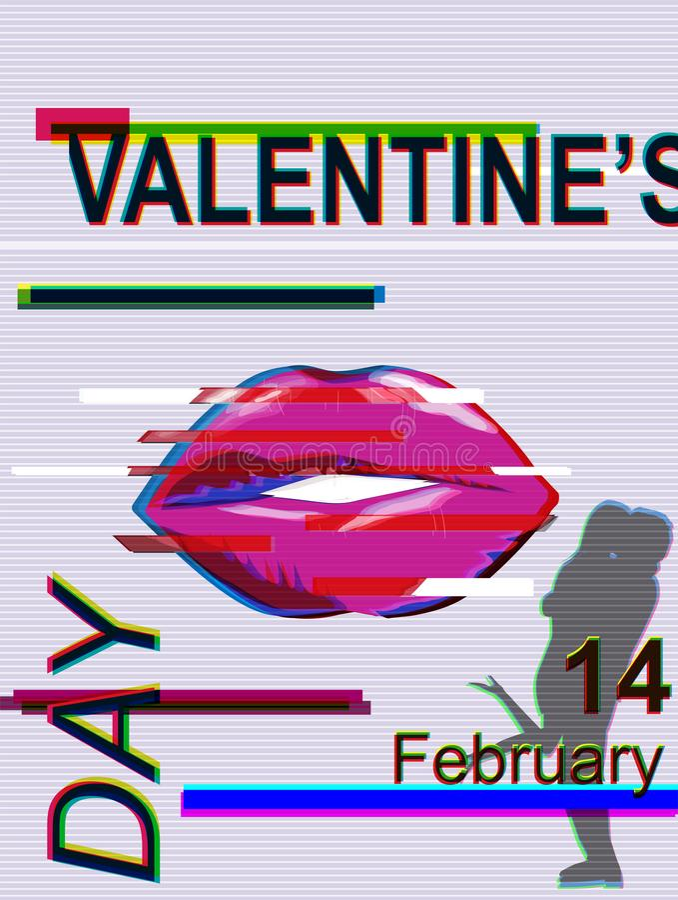 Illustration de vecteur de St Valentine February 14 avec le problème illustration libre de droits