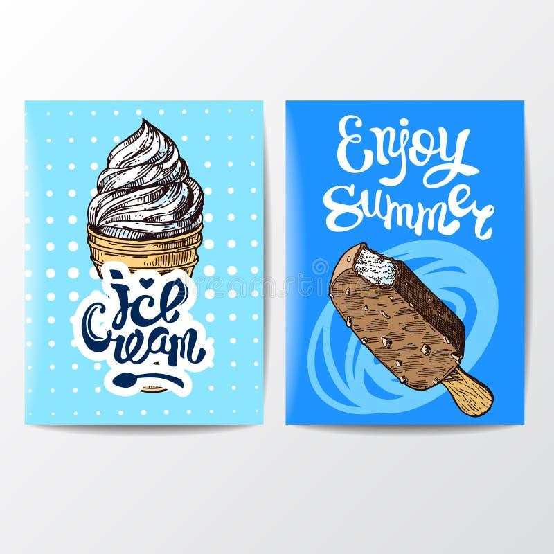 Illustration de vecteur de style de croquis de crème glacée  Affiche tir?e par la main illustration libre de droits