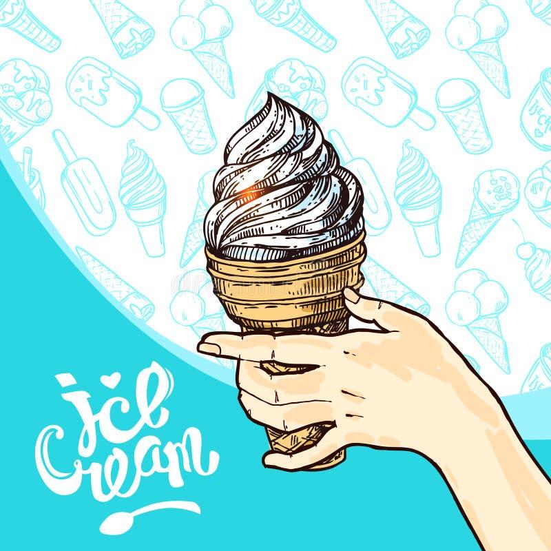 Illustration de vecteur de style de croquis de crème glacée  Affiche tir?e par la main illustration stock