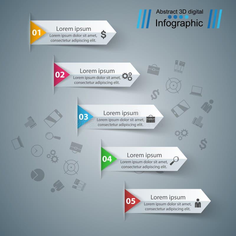 Illustration de vecteur de style d'origami d'Infographics d'affaires illustration libre de droits