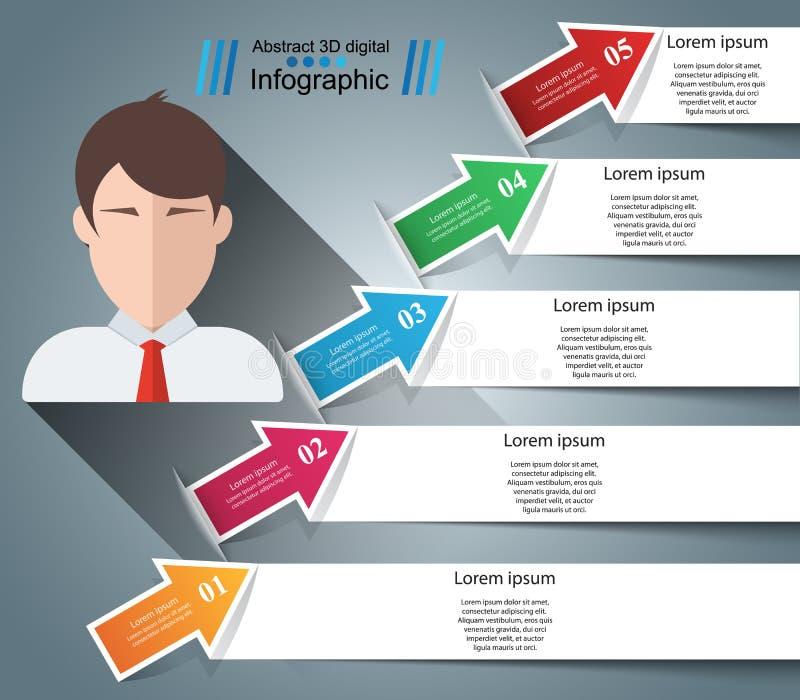 Illustration de vecteur de style d'origami d'Infographics d'affaires Icône d'avatar illustration libre de droits