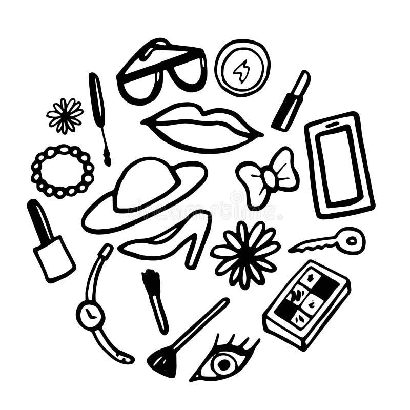 Illustration de vecteur sur le fond blanc Accessoires de femmes illustration stock