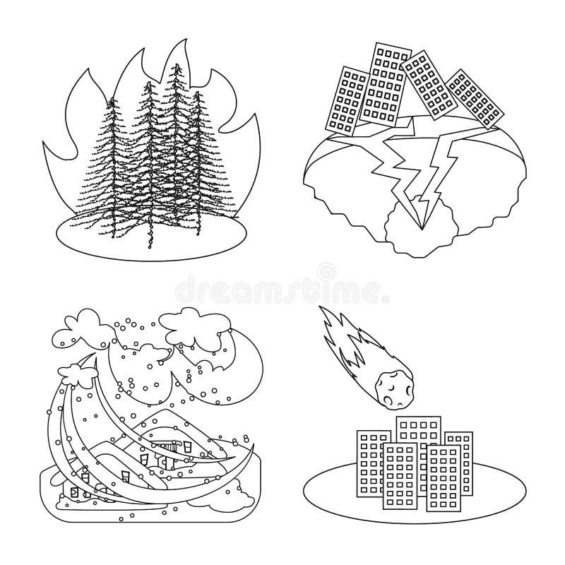 Illustration de vecteur de symbole de cataclysme et de catastrophe Collection de cataclysme et d'illustration de vecteur d'action illustration libre de droits
