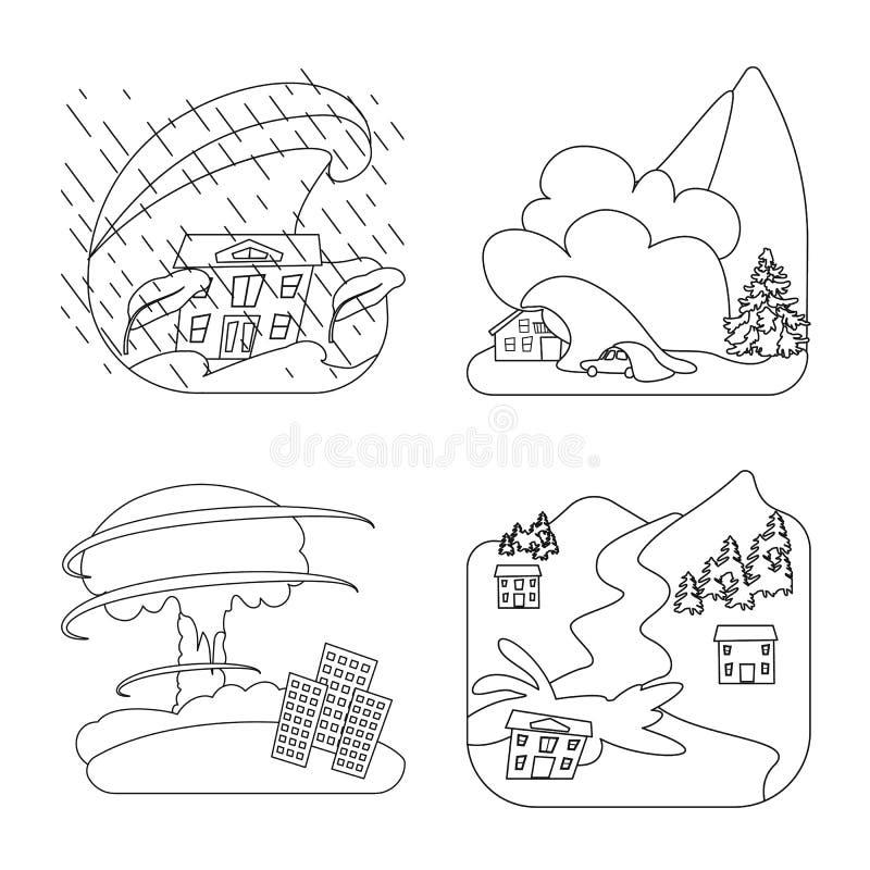 Illustration de vecteur de symbole de cataclysme et de catastrophe Collection d'ic?ne de vecteur de cataclysme et d'apocalypse po illustration libre de droits