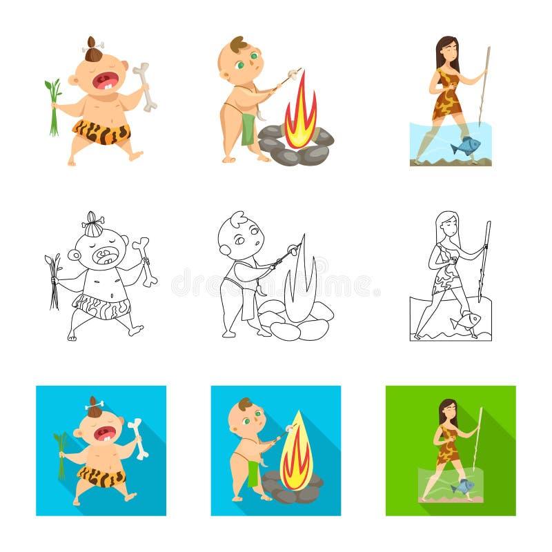 Illustration de vecteur de symbole d'évolution et de préhistoire Placez de l'illustration courante de vecteur d'évolution et de d illustration de vecteur
