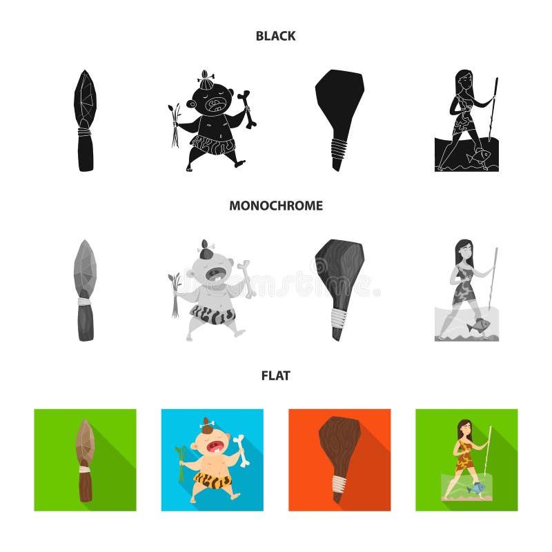 Illustration de vecteur de symbole d'évolution et de préhistoire Placez de l'icône de vecteur d'évolution et de développement pou illustration stock
