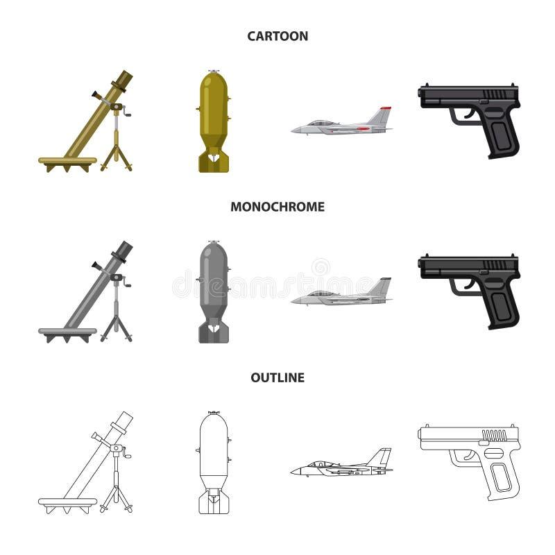 Illustration de vecteur de symbole d'arme et d'arme à feu Collection d'icône de vecteur d'arme et d'armée pour des actions illustration libre de droits