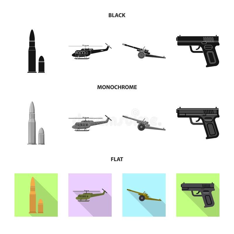 Illustration de vecteur de symbole d'arme et d'arme à feu Ensemble de symbole boursier d'arme et d'armée pour le Web illustration libre de droits