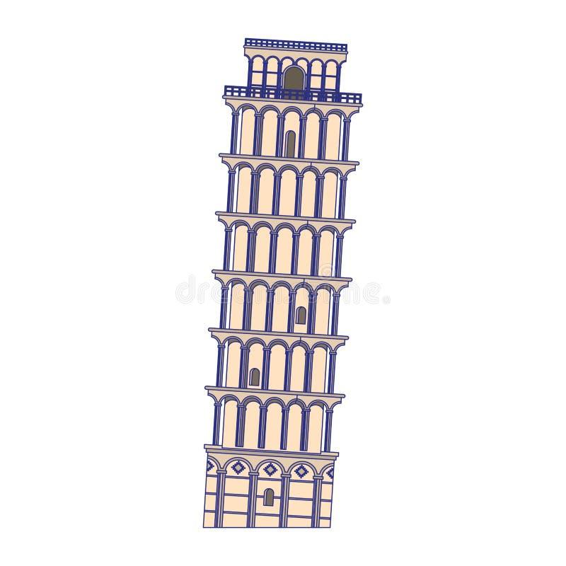 Illustration de vecteur de symbole d'isolement par monument de l'Italie de tour de Pise illustration de vecteur