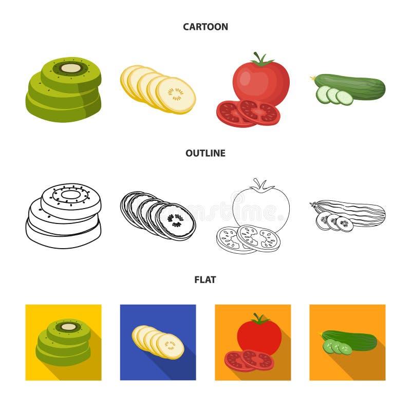 Illustration de vecteur de symbole de l?gume et de fruit Collection d'ic?ne de vecteur de l?gume et de nourriture pour le bouillo illustration libre de droits