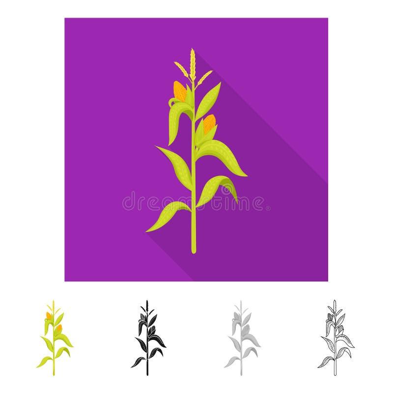 Illustration de vecteur de symbole de ma?s et de tige Placez du symbole boursier de ma?s et de champ pour le Web illustration de vecteur