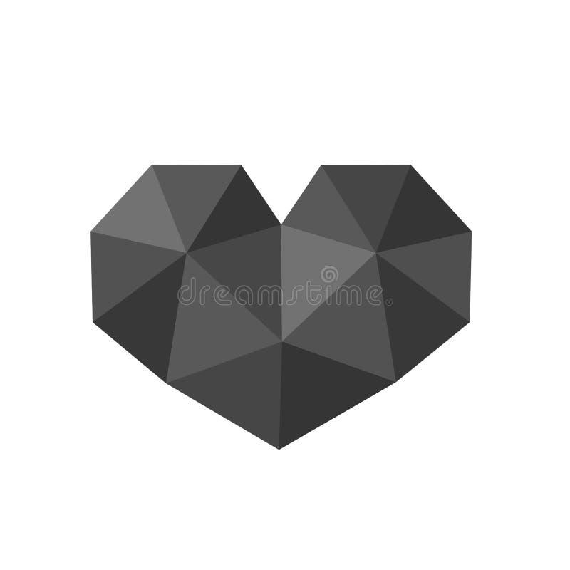 Illustration de vecteur de symbole noir polygonal de coeur, basse poly conception d'icône illustration libre de droits