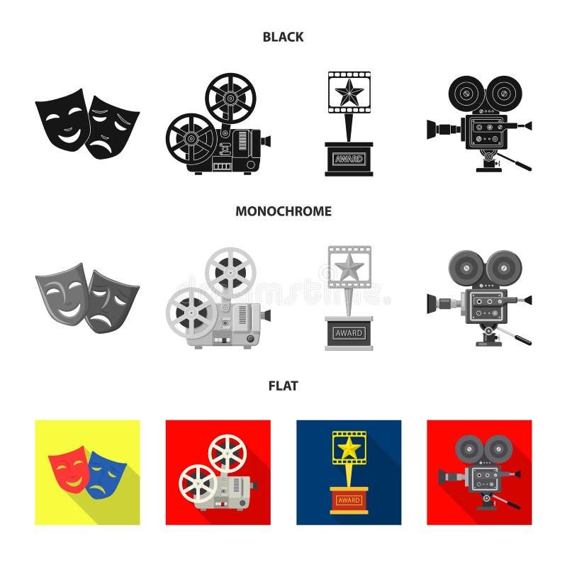 Illustration de vecteur de symbole de t?l?vision et de pelliculage Collection de t?l?vision et de symbole boursier de visionnemen illustration stock