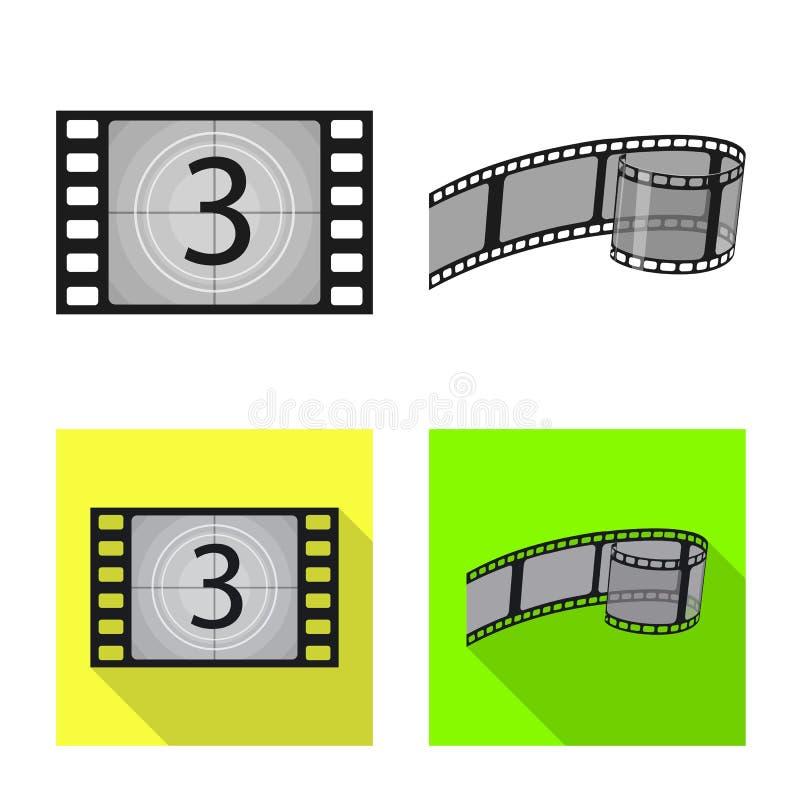 Illustration de vecteur de symbole de t?l?vision et de pelliculage Collection de t?l?vision et ic?ne de visionnement de vecteur p illustration libre de droits