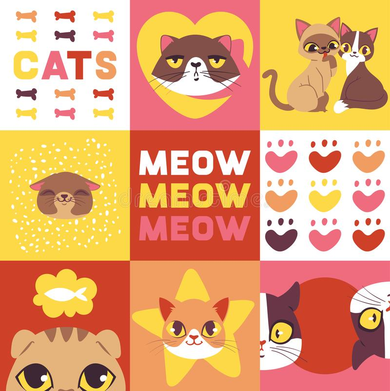 Illustration de vecteur de têtes de chats Visages animaux mignons Personnages de dessin animé drôles pour la bannière Animaux fam illustration stock