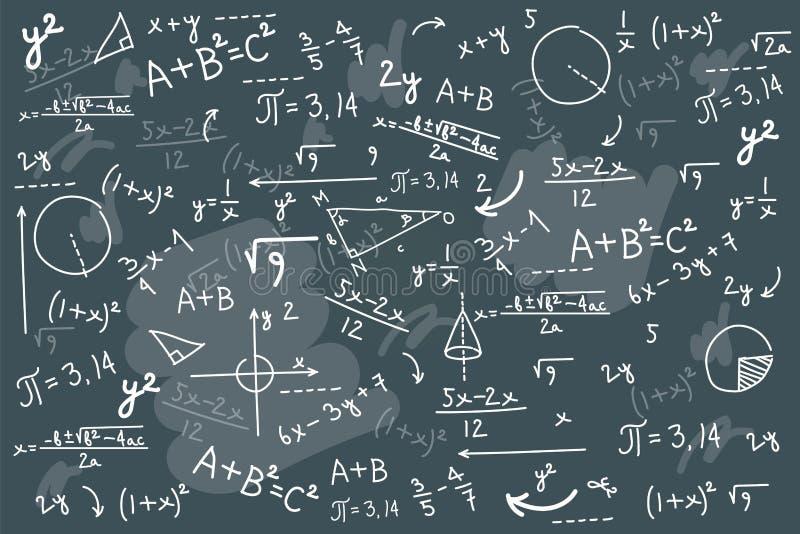Illustration de vecteur de tableau de maths Physique résolvant le désordre de conseil d'équation illustration stock