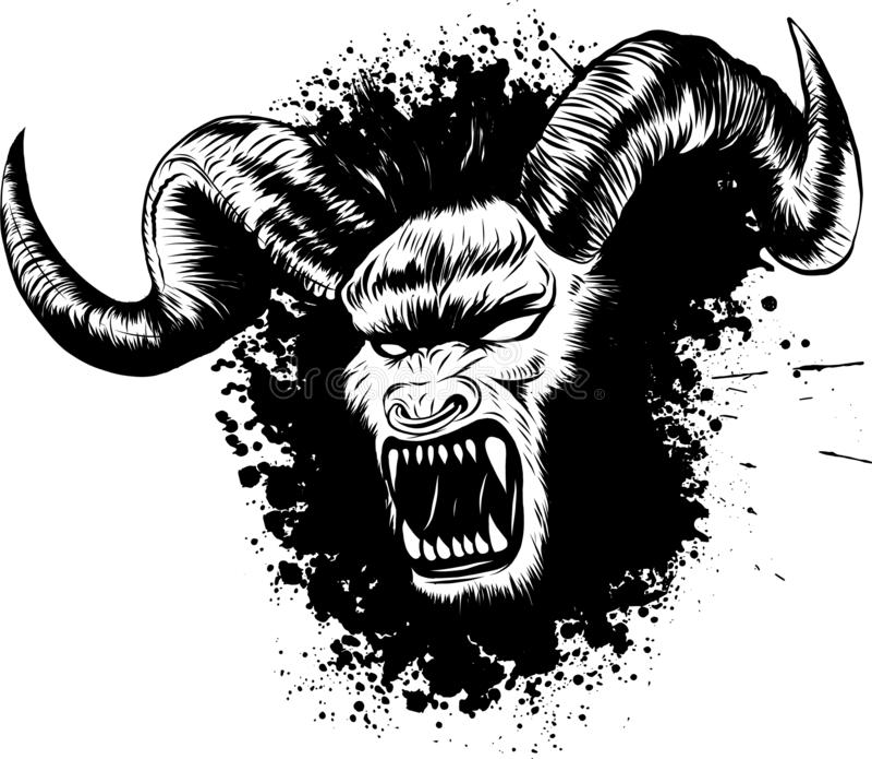 Illustration de vecteur de tatouage de visage de démon de diabolik illustration libre de droits