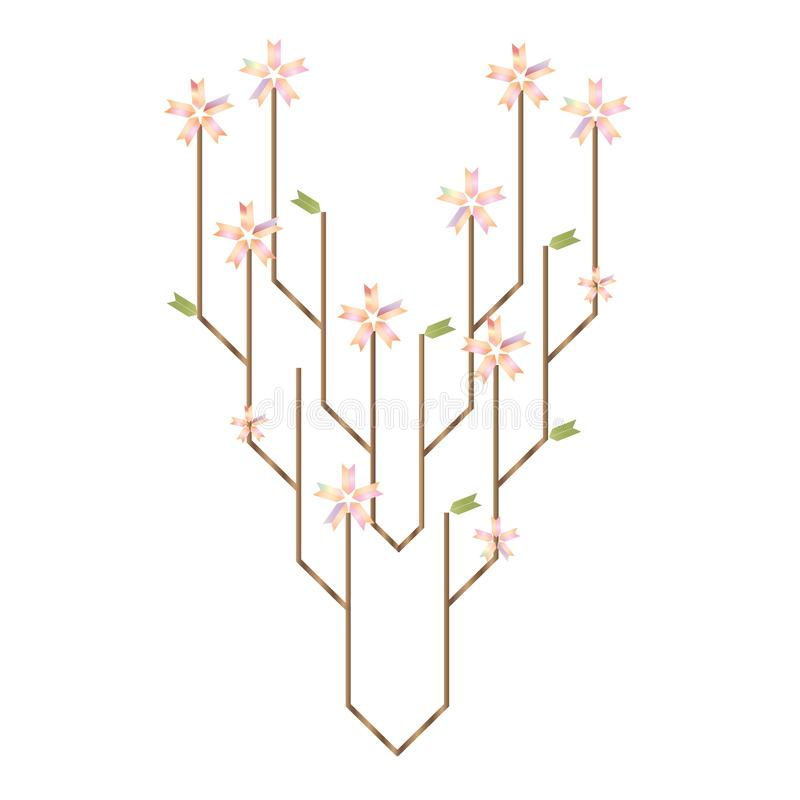 Illustration de vecteur de technologie d'arbre et de métaphore futuristes d'interaction de nature illustration libre de droits