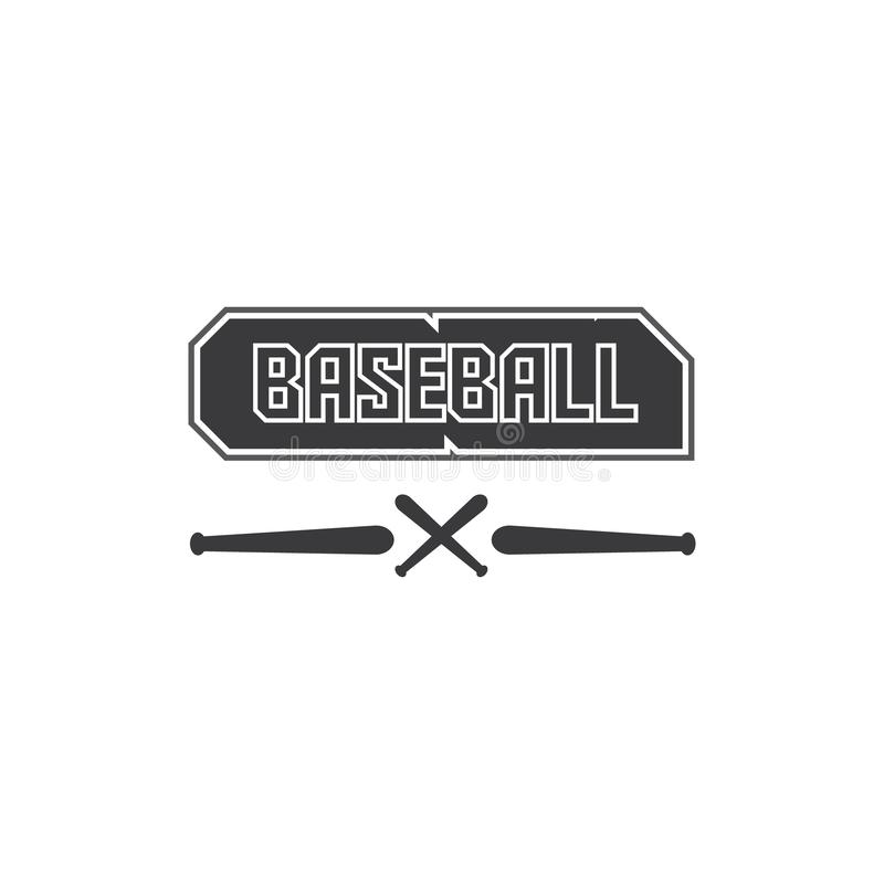 Illustration de vecteur de texte noir de logo de base-ball dans le noir et illustration d'un bâton de base-ball illustration stock
