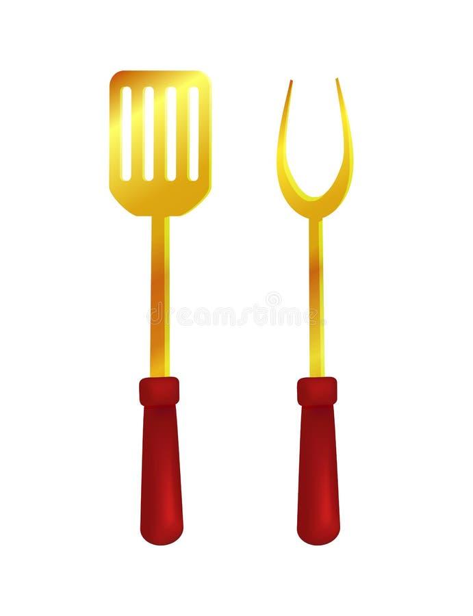 Illustration de vecteur de trousse d'outils de spatule et de fourchette illustration de vecteur