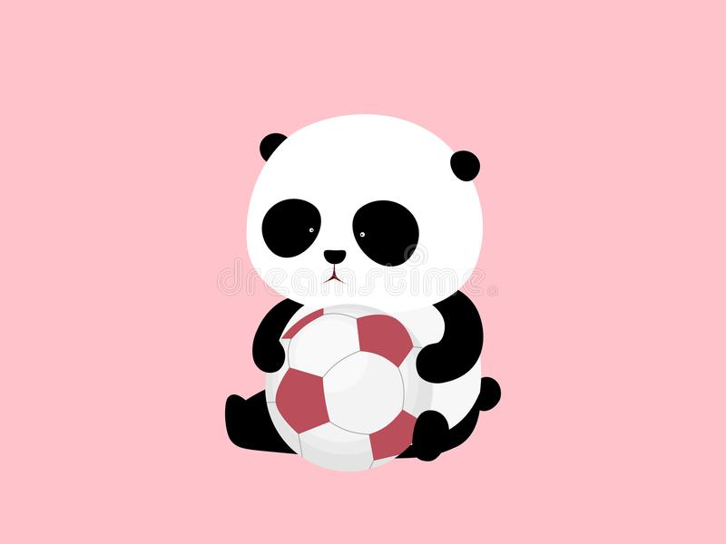 Illustration de vecteur Un panda géant de bande dessinée mignonne se repose au sol, tenant un ballon de football/football illustration stock