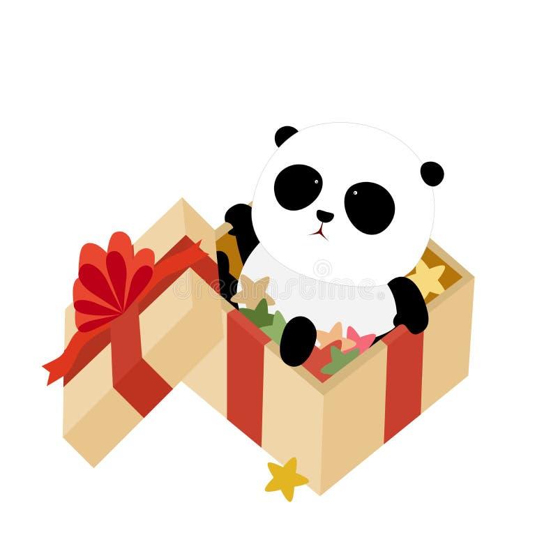 Illustration de vecteur : Un panda géant de bande dessinée mignonne se repose dans une boîte de cadeau de Noël remplie d'étoiles  illustration stock