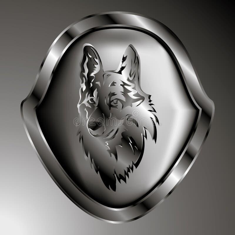 Illustration de vecteur Un symbole de bouclier argenté du loup image stock