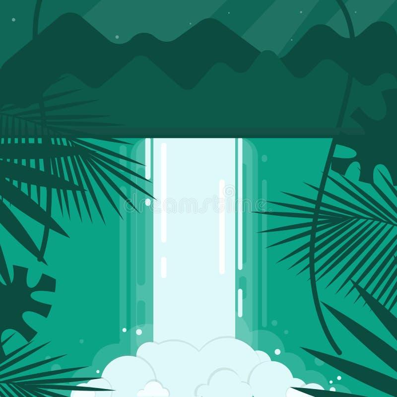 Illustration de vecteur Une image conceptuelle d'une cascade dans un style plat Émeraude, bleu, tons verts Montagnes dans illustration de vecteur