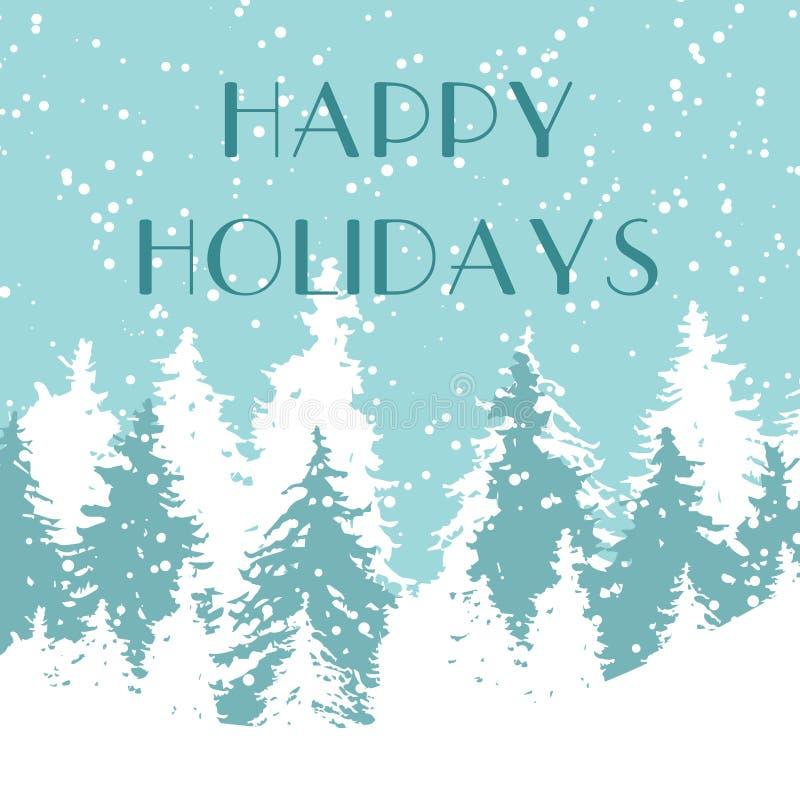 Illustration de vecteur de vacances de décoration de salutation de forêt d'hiver de Noël de carte de Noël Paysage froid de gel d' illustration libre de droits