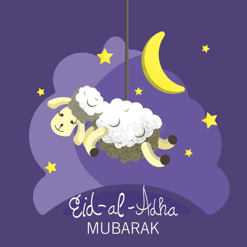 Illustration de vecteur Vacances musulmanes Eid Al-Adha le sacrifice une RAM ou un mouton blanc et noir illustration de vecteur
