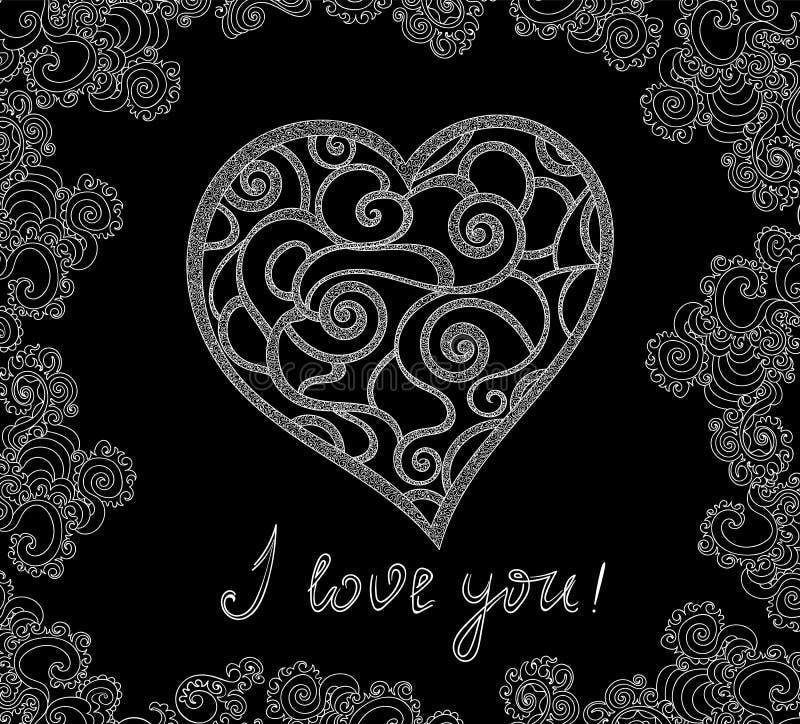 """Illustration de vecteur de Valentine avec le coeur manuscrit et les mots """"je t'aime """"dans un cadre figuré ornemental illustration libre de droits"""