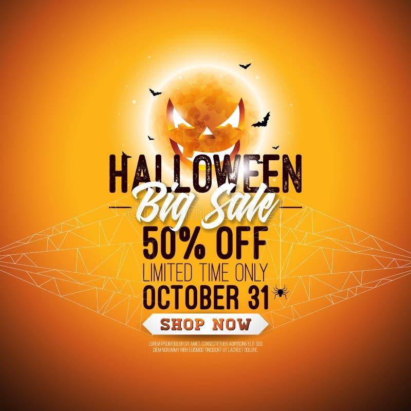Illustration de vecteur de vente de Halloween avec la lune faite face effrayante, les battes volantes, la toile d'araignée et le  illustration libre de droits