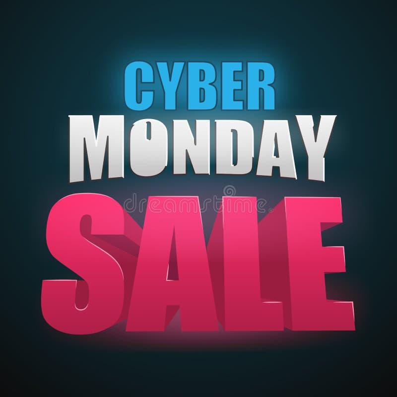 Illustration de vecteur de vente de lundi de Cyber Élément d'isolement par conception en ligne de fond de vente Advertisign de lu illustration stock