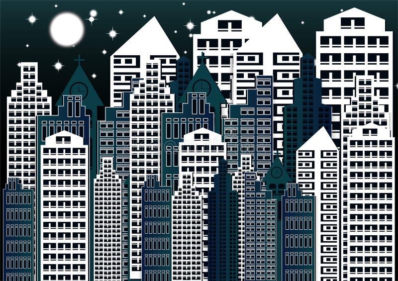Illustration de vecteur de ville de nuit abrégez le fond Paysage moderne de ville de nuit illustration libre de droits