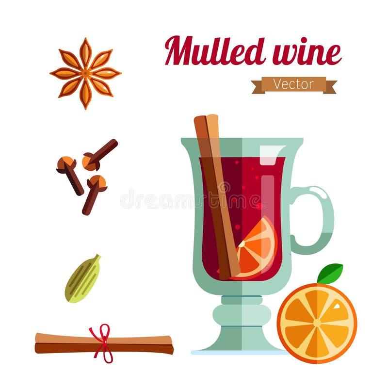 Illustration de vecteur de vin chaud Boisson chaude de saison d'hiver illustration libre de droits