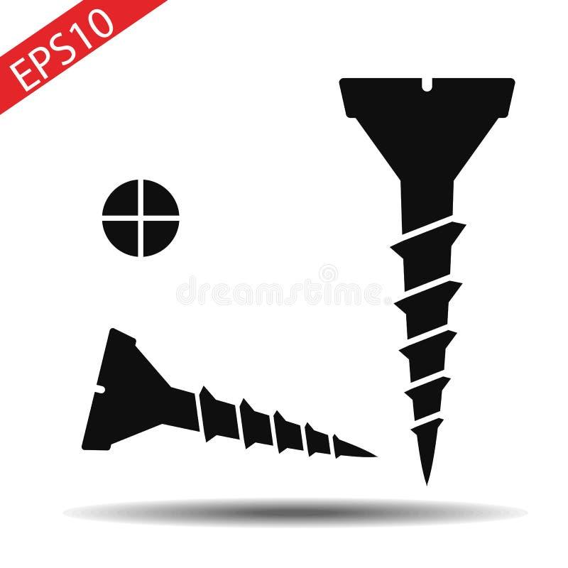 Illustration de vecteur Vissez dans la conception plate d'isolement sur le fond blanc illustration libre de droits